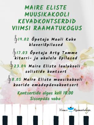 Maire Eliste Muusikakooli kevadkontserdid Viimsi Raamatukogus