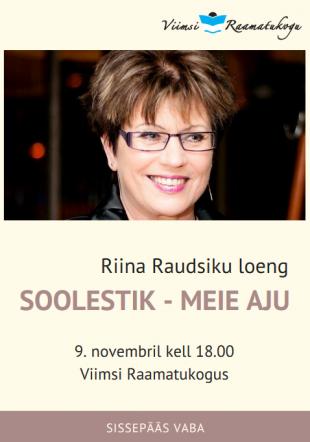 9. novembril k 18 Riina Raudsiku loeng