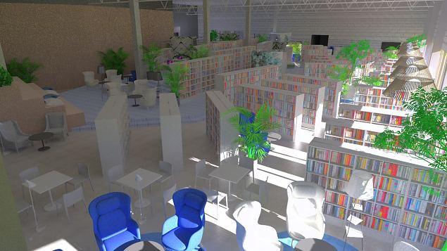 Raamatukogu 3D pildid Viimsi Marketi I ja II korrusel